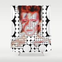 "aladdin Shower Curtains featuring David Bowie ""Aladdin Sane"" by Louis Loizou"