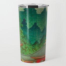 Vintage Japanese Woodblock Print Rainy Day At The Shinto Shrine Tall Pine trees Yellow Rain Coat Travel Mug