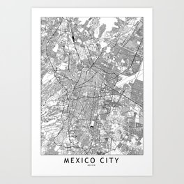 Mexico City White Map Art Print