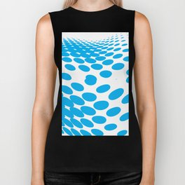 BLUE DOTS ON A WHITE BACKGROUND Abstract Art Biker Tank