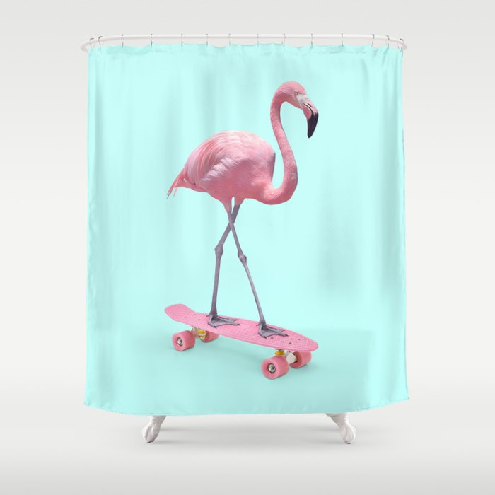 SKATE FLAMINGO Shower Curtain