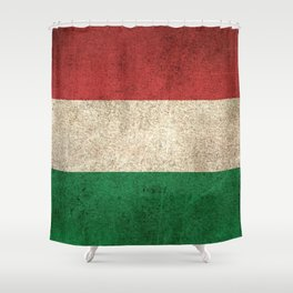 Old and Worn Distressed Vintage Flag of Hungary Shower Curtain