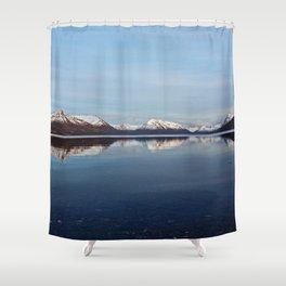 Mountains on Karluk Lake Photography Print Shower Curtain