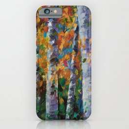 Birch trees - Palette Knife  iPhone Case