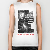 jfk Biker Tanks featuring Misfits JFK Poster Series - Your Husband is Dead by Robert John Paterson