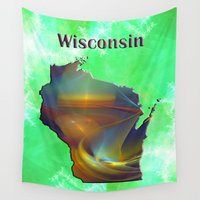 wisconsin Wall Tapestries featuring Wisconsin Map by Roger Wedegis