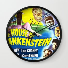 The House of Frankenstein, vintage horror movie poster Wall Clock