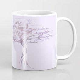 Quiet Acacia Zen Tree , Earthy African Bonsai Peace Lavendar Purple Coffee Mug