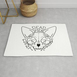 Dead Men Don't Catcall - Feminist Quote - Sphynx Cat Skull - Black and White Rug