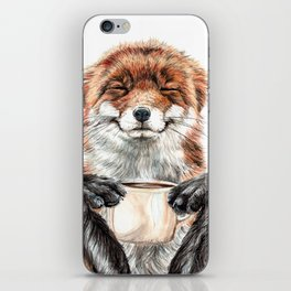 """ Morning fox "" Red fox with her morning coffee iPhone Skin"
