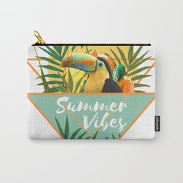 Summer Vibes Typography Tropical Bouquet With Toucan Carry-All Pouch