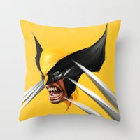 Throw Pillows featuring BLACK AND YELLOW by John Aslarona