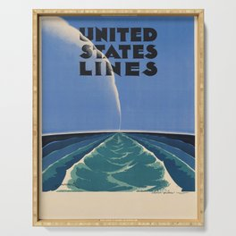 United States Lines Placard Serving Tray