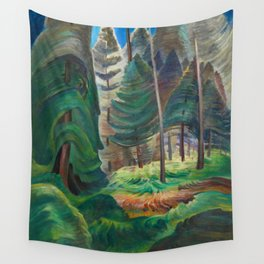 Into the forest giant trees, redwoods, sequoias, douglas fir nature landscape painting by Emily Carr for home, bedroom, & wall decor Wall Tapestry