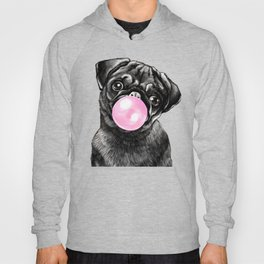 Bubble Gum Black Pug in Green Hoody
