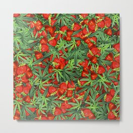 Cannabis and Strawberry Marijuana Floral Pattern Metal Print