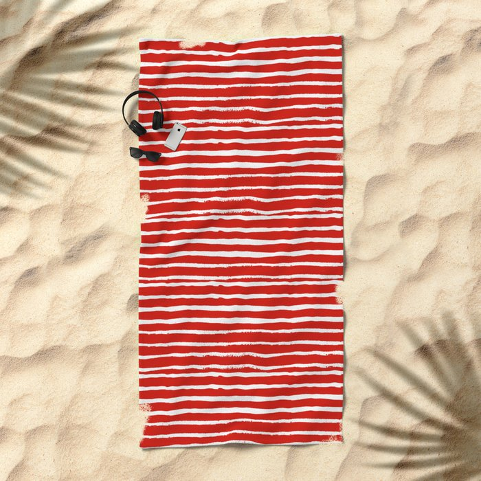 Minimal Christmas red and white holiday pattern stripes candy cane stripe pattern Beach Towel