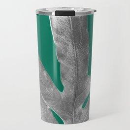 Christmas Fern, Holiday Green with Silver Winter Leaf Travel Mug