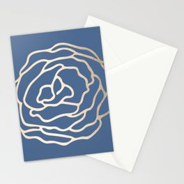 Flower in White Gold Sands on Aegean Blue Stationery Cards