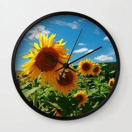 Sunflowers In Sunflower Field Wall Clock