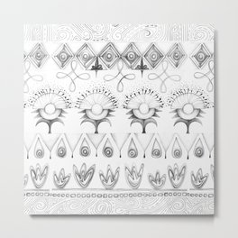 the rhyme of repetitive elements - black and white drawing Metal Print