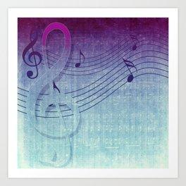 Aqua Purple Ombre Music Notes Art Print