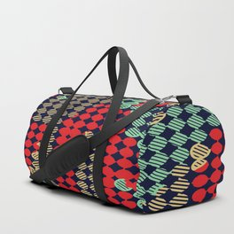 circle pattern graffiti drawing abstract in red and blue Duffle Bag