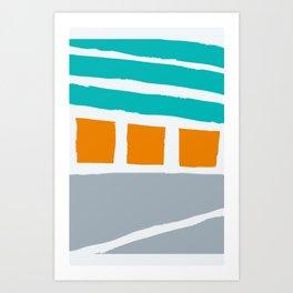 Weathered Beach Bungalows Art Print