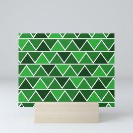 Modern Abstract Art Pattern Green Triangles Simple & Artistic Mini Art Print