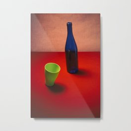 Very simple still life with a blue bottle Metal Print