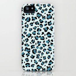 Animal Print, Spotted Leopard - Blue Black iPhone Case