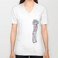 70s V-neck T-shirts featuring 70s Girl by Erica Evans Design