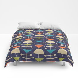 Retro Mid Century Modern Abstract Mobile 646 Blue Orange Olive and Beige Comforters