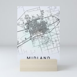 Midland TX  USA White City Map Mini Art Print