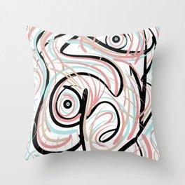 Swirly_Scrib Throw Pillow