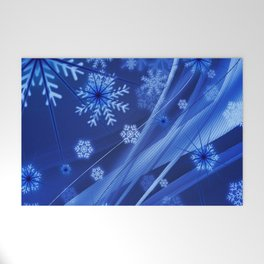 Blue Snowflakes Winter Welcome Mat