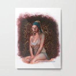 Scarlett Johansson is the pearl girl Metal Print