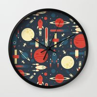 stickers Wall Clocks featuring Space Odyssey by Tracie Andrews