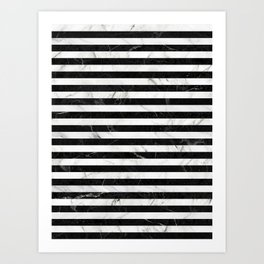 Marble Stripes Pattern - Black and White Art Print