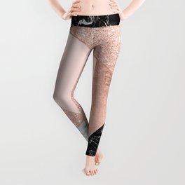 Modern rose gold glitter black white marble geometric color block Leggings
