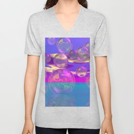 Tropical Morning – Abstract Magenta and Turquoise Paradise Unisex V-Neck