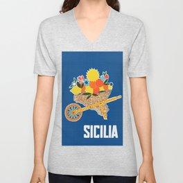 Sicilia - Sicily Italy Vintage Travel Unisex V-Neck