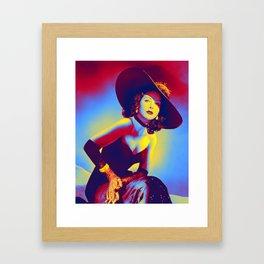 Hedy Lamarr 1940's fashion Neon art by Ahmet Asar Framed Art Print