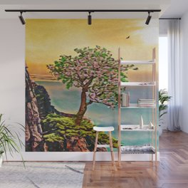The Loneliest Tree On Mount Huangshan | Painting  Wall Mural
