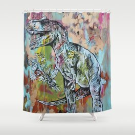 T-Rex with Flowers Shower Curtain