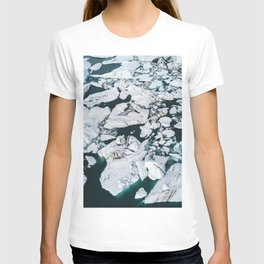 Icelandic glacier icebergs from above - Landscape Photography T-shirt
