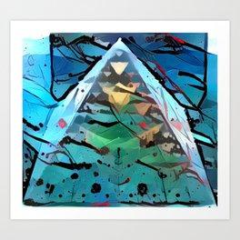 Serpinski Pyramid Paint Splatter Art Print