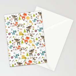 Cute Woodland Creatures Pattern Stationery Cards