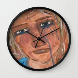 Abstract Portrait Face of a Sad Woman outsider visionary artist Wall Clock