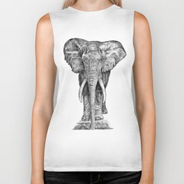 Elephant at the water hole. Biker Tank